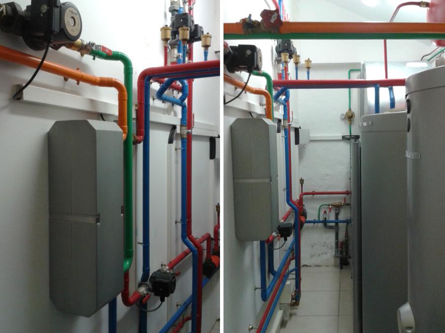 chaufferie avec pompe à chaleur intérieure (air/eau)