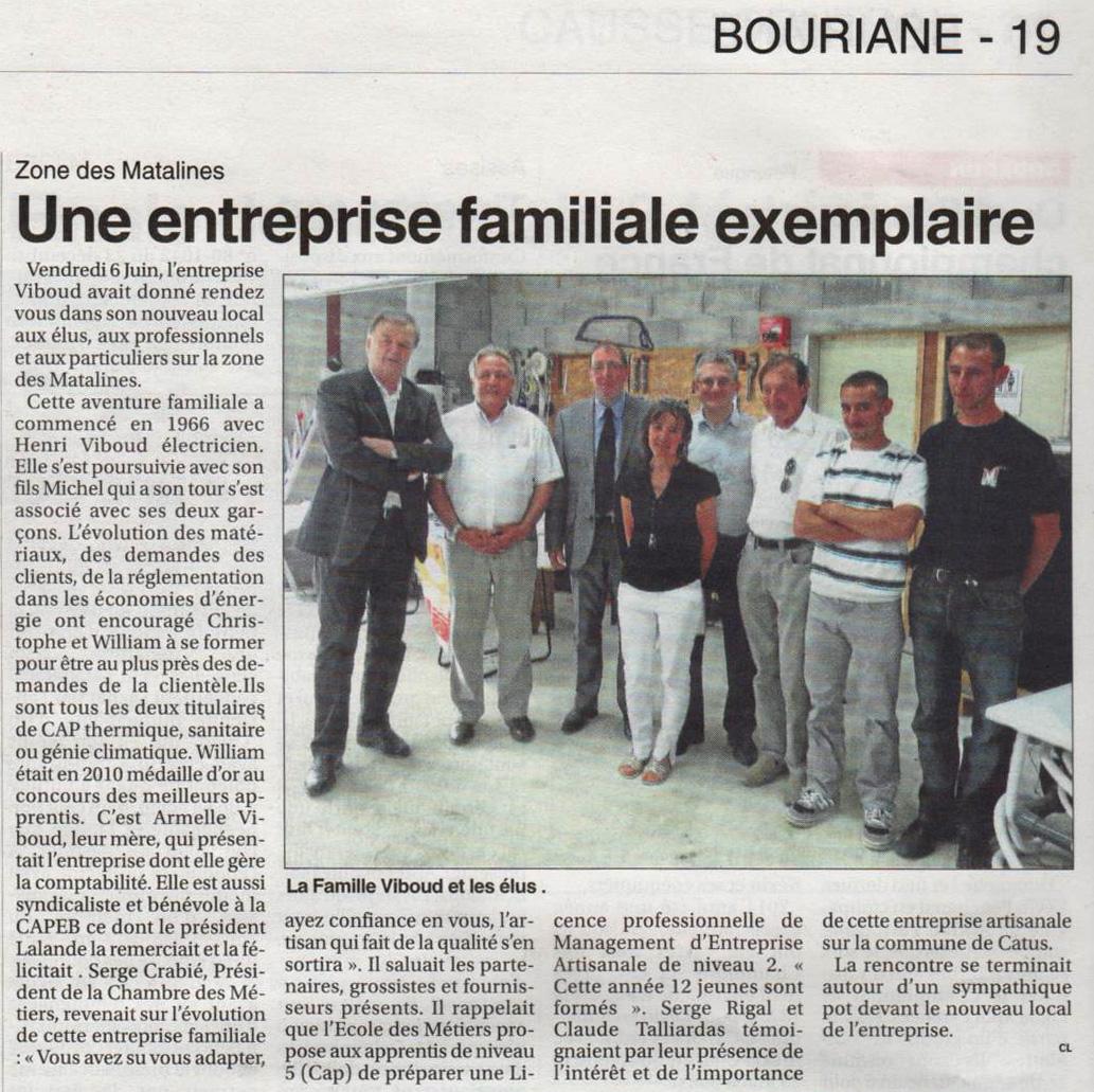 Article sur les journées portes ouvertes du 6 et 7 Juin 2014 B Souvenir   :   Une entreprise familiale exemplaire